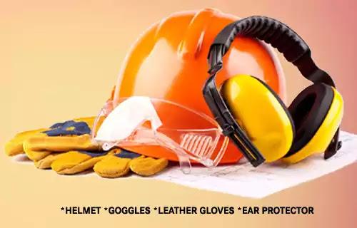 ppe for electrical work, helmet, earplug, glasses